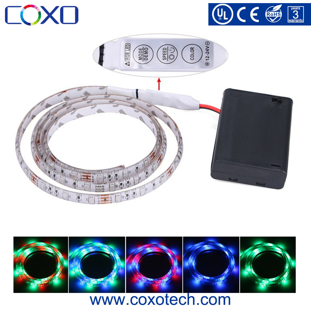 SMD 5050 5V RGB Remote Controlled Rechargeable Mini Battery Operated Powered Led Strip Light