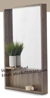 Wholesale wooden framed wall hanging bathroom mirror with shelf