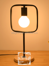 cute simple black iron led desk table lamp dormitory desk lamp in solid wood base