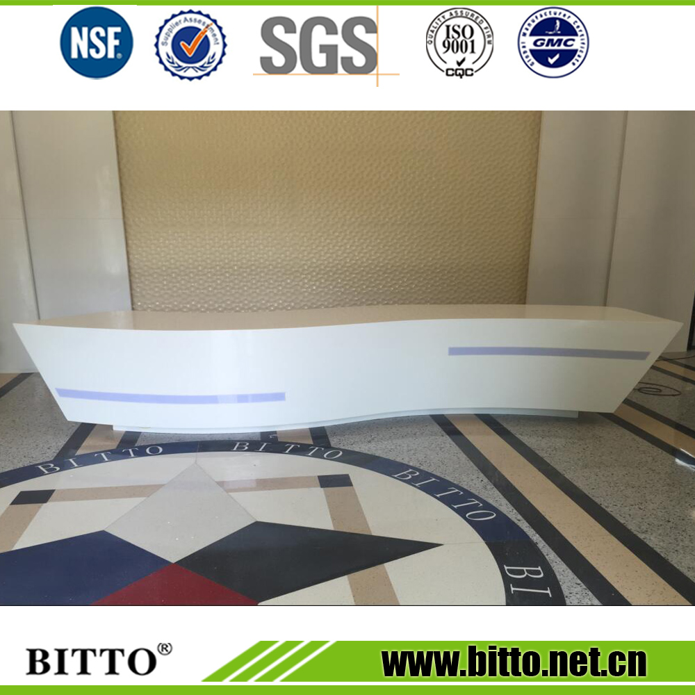 Bitto bend pure white 100% acrylic solid surface corians for reception desk