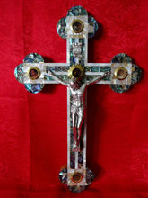 bethlehem olive wood Roman Crucifix 25 cm mother of pearl with the Holy Land Elements
