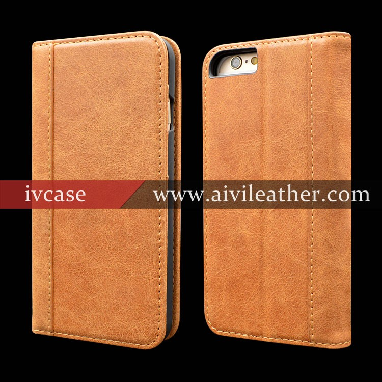 Custom Designer Real Leather Book Case for Iphone 6 Plus Wallet Magnetic Case