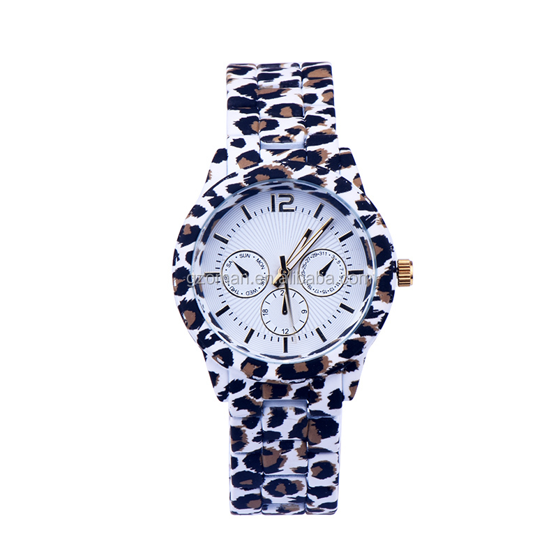 customize your own logo women's leopard watch stainless steel bracelet wrist watch