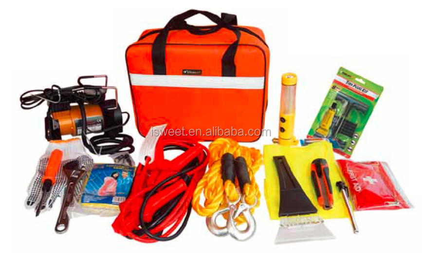 H70347 PowerLink Roadside Assistance Auto Emergency Kit + First Aid Kit Rugged Tool Bag Contains Jumper Cables, tools