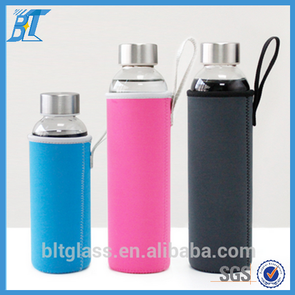 Factory wholesale 300ml 500ml drinking water glass bottle with sleeve