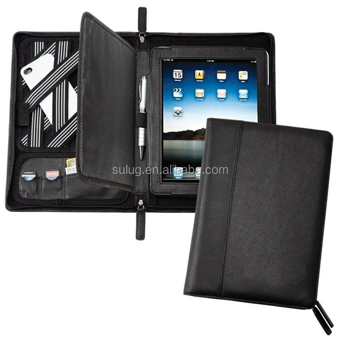 High quanlity zippered leather portfolio for ipad air ,for Flat Pc,leather briefcase for tablet pc