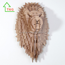 DIY Wooden Lion Trophy Animal Head 3D Wooden Animal Wall Decoration