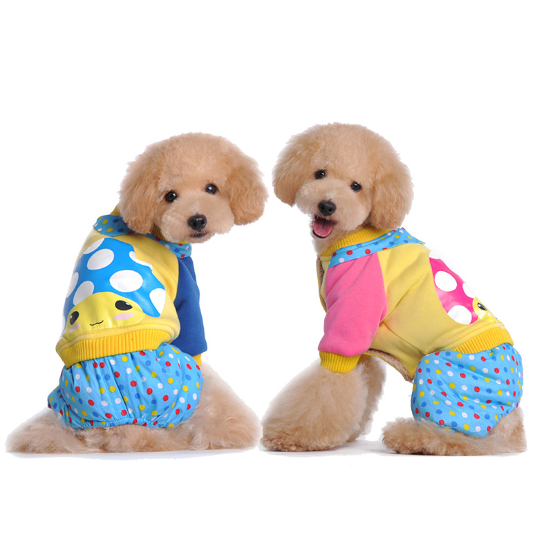 2016 New Cute Pet Struck Sweater Coat Dot Legs Dog Clothes Pet Fall Winter Funds Cotton - Padded Clothes