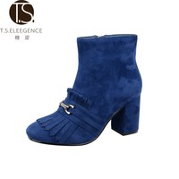 Cheap Sexy Fancy Autumn Winter Blue Tassel Suede Upper Round Toe Square High Heel Women Boots Shoes for Ladies
