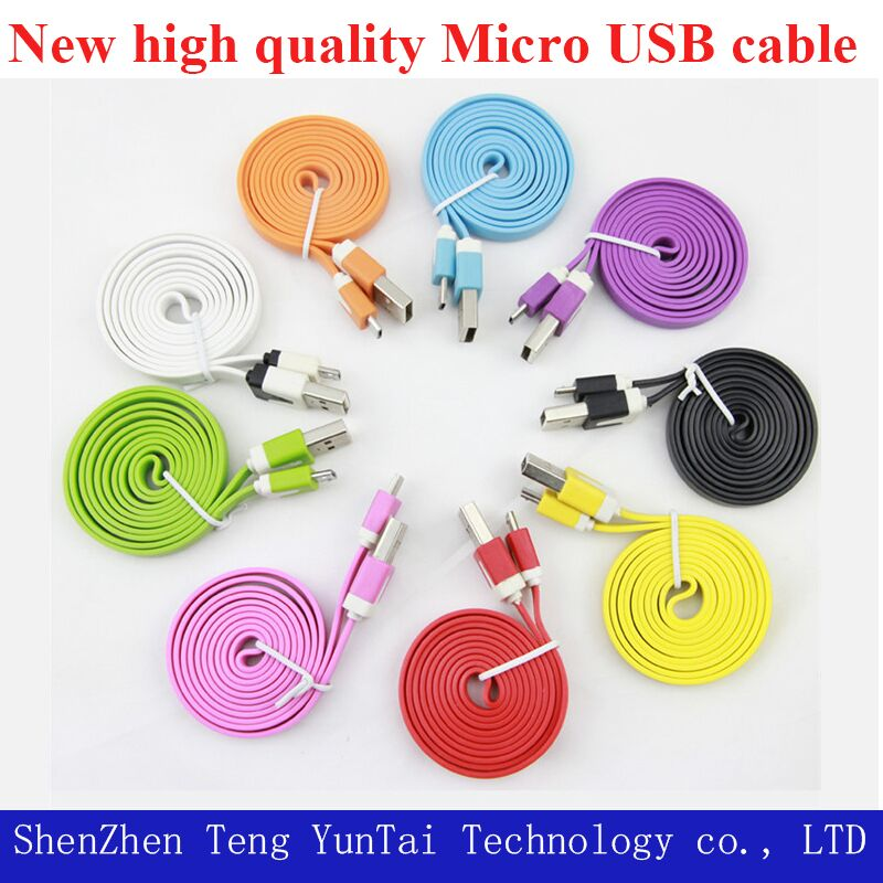 1M Colorful noodle Flat V8 micro usb data charger cable for Samsung Galaxy S4 S IV i9500 S3 i9300 N7100,Free shipping