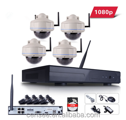 4CH 1080P HD WIFI NVR Home Security Camera System with 4pcs Outdoor Wireless IR Night Vision IP Camera Dome Plug Play wifi cam