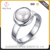 Fashion Design Stainless Steel Silver Finger Rings With Pearl