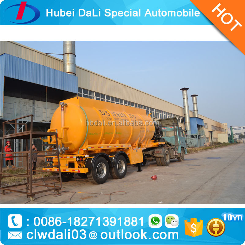 Tri-Axle Stainless Steel Sewage Vacuum Suction Tanker Semi Trailer