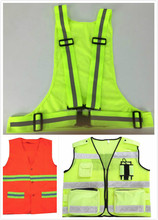 high visibility light weight reflective safety deluxe vest / running motorcycle construction traffic emergency vest