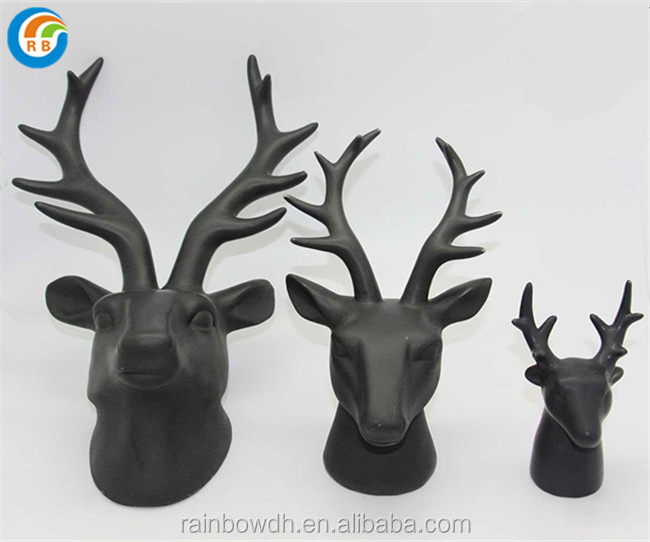 ceramic black deer head wall showpieces for home decoration