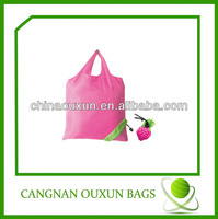 hottest customized nylon strawberry folding tote bag