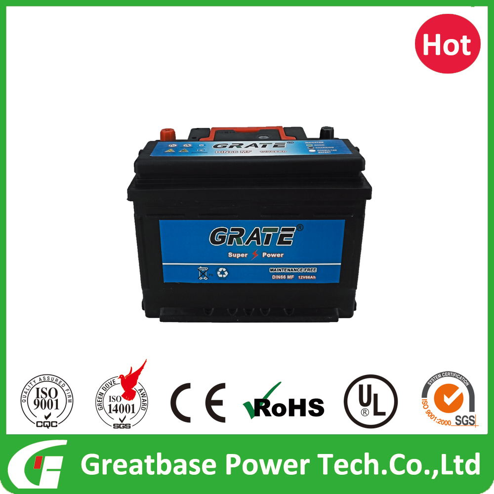 Wholesale high quality and cheaper power volt car battery european DIN standard maintenance free car battery 12V 66AH