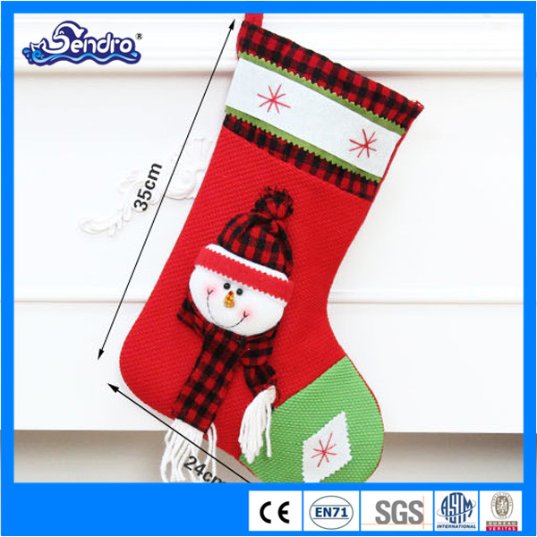 christmas decorating ornaments plush christmas sock for packing candy