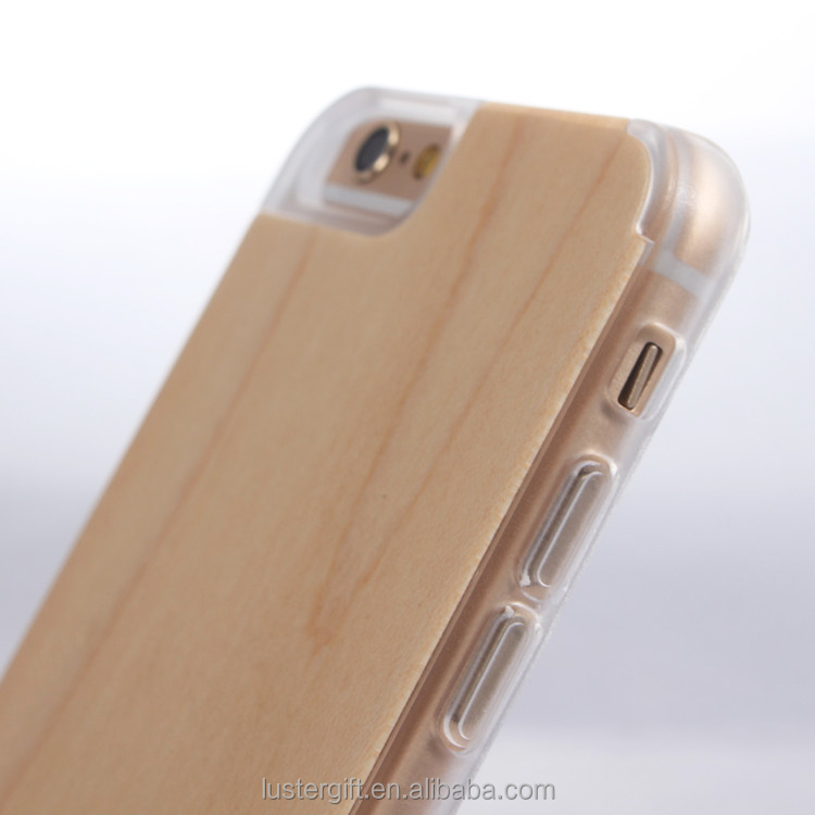 Real wood phone case ! Transparent case cover, for iPhone 6/ 6 plus case cover skin , wood+ clear PC i6 phone case