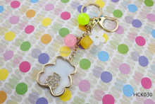 New luxury golden bear pure white lucky flower series diamond crystal key chain
