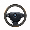 15 inch Universal 38CM Breathable Anti-slip Protector Genuine Leather Car Steering Wheel Cover