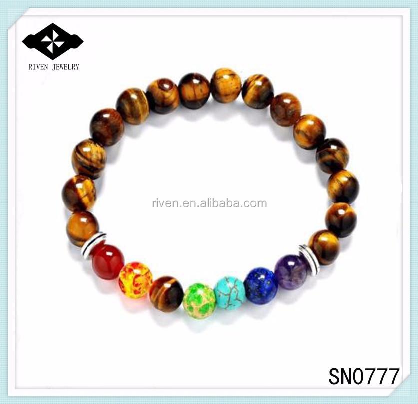 SN0777 Top Sale 7 Chakra Tiger eye beaded bracelet for Unisex Christmas New year gift Mala yoga Man healing stone beaded bracelet.jpg