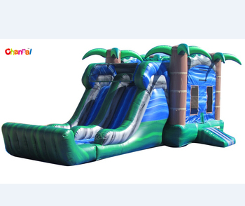 tropical blue crush dual lane combo inflatable bounce house with slide