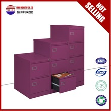 Purple steel drawer cabinet metal tall thin storage cabinet with 4 drawer