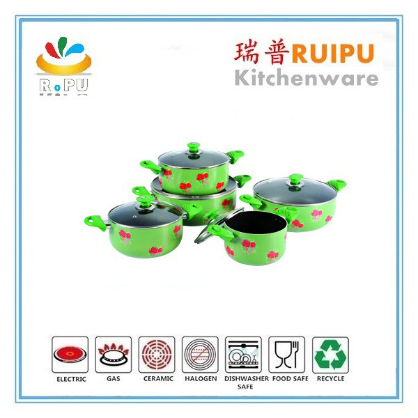 Hot green enamel floral decal kitchenware casserole set Sauce Pot