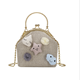 2018 new linen woven portable handbag fashion clip buckle shoulder bag cute accessories chain messenger bag