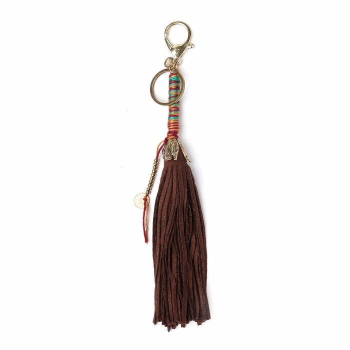 long tassel kawaii squishies keyring with gold plated keychain