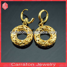 Fancy and stylish fake gold plated earrings and pendant wedding bridal jewelry sets