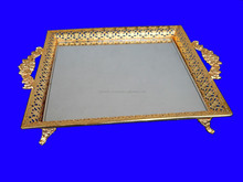 Wedding Decorative Tray , Metal Tray with Mirror Inside , Gold Plated Tray