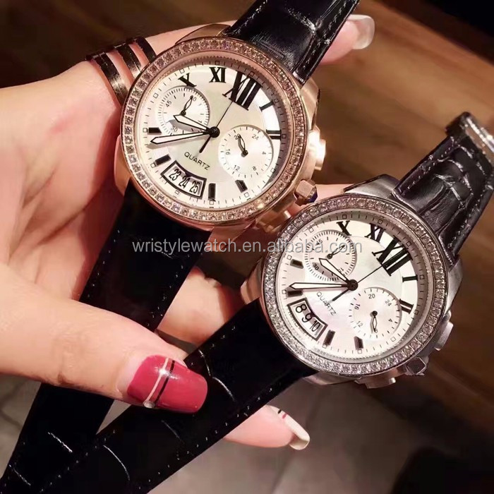 luxury men's stainless steel watch japanese quartz chronograph watches for men 5ATM men leather watches