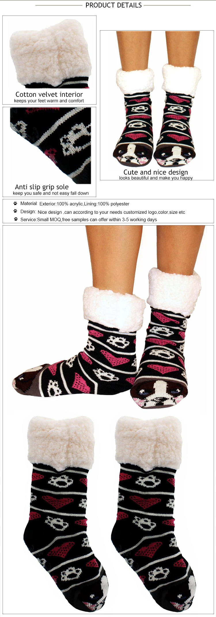 No MOQ Print Your Own Logo Towel Little Feet Rubber Sole Grippy Non Skid Anti Slip Yoga Socks