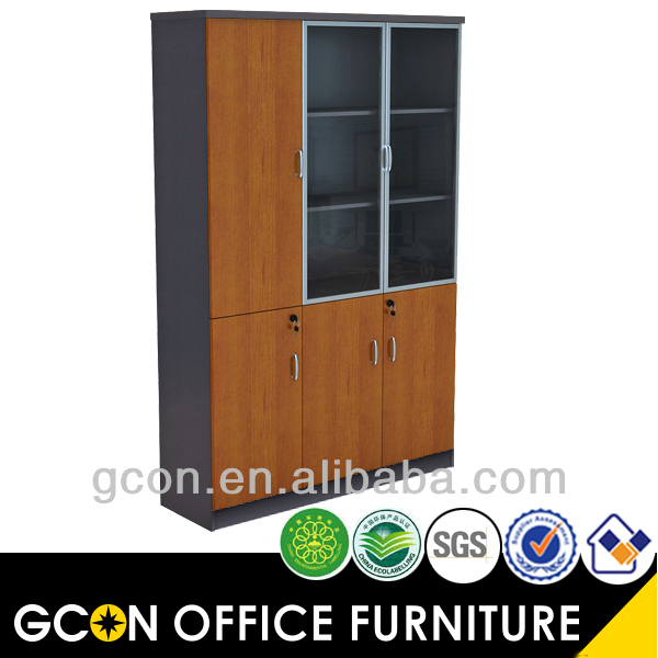 Furniture bookcase classic style with glass doors cherry finish