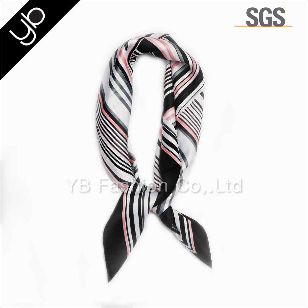 laday's stripe printed square silk satin fashion scarf for neckerchief