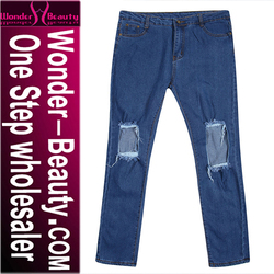 Jeans wholesale china cheap price high quality girlfriend style denim biker jeans trousers for women L36010