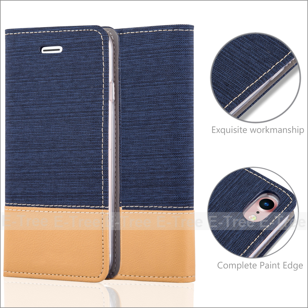 Jean Leather with Credit Card Slot Phone Cover for Apple iPhone 7, For iPhone 7 Jean PU Leather Wallet Case