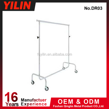 CR03 chrome plated single tube clothes rack