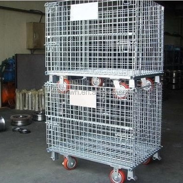 Large wire mesh container/industrial metal storage bins