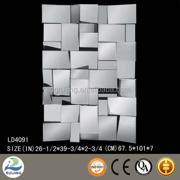 Glass plain beveled wall decorative mirror