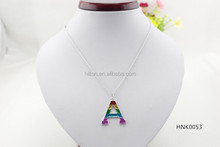 Alloy Letter A with glitter pendent necklace