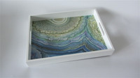 marble design wooden tray