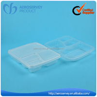 New Design plastic rectangular 4 compartments keep food warm tray with lid