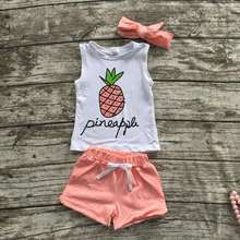 baby girls summer outfits girls short sleeve children pineapple outfits kids boutique outfits with matching headband