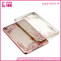 Top Selling Electroplating Flower TPU Clear Elegant Phone Case for Apple iPad Mini 4