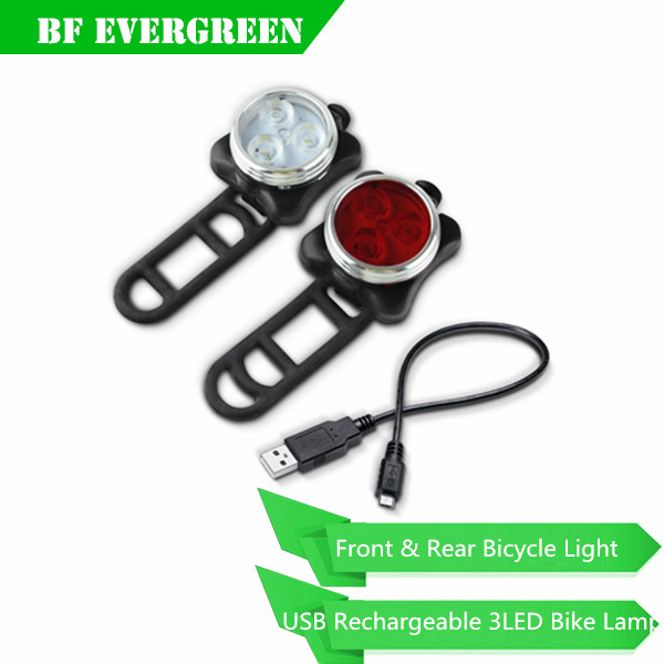Waterproof Warning 3 LED Sport Lighting USB Rechargeable Bike Cycling Bicycle Front Head Light Lamp Rear Tail Light