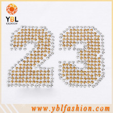Numbers rhinestone heat transfer logo on sports clothes