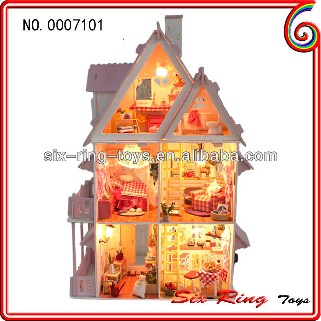 Cheap diy house model diy wooden toy house toy doll house play set